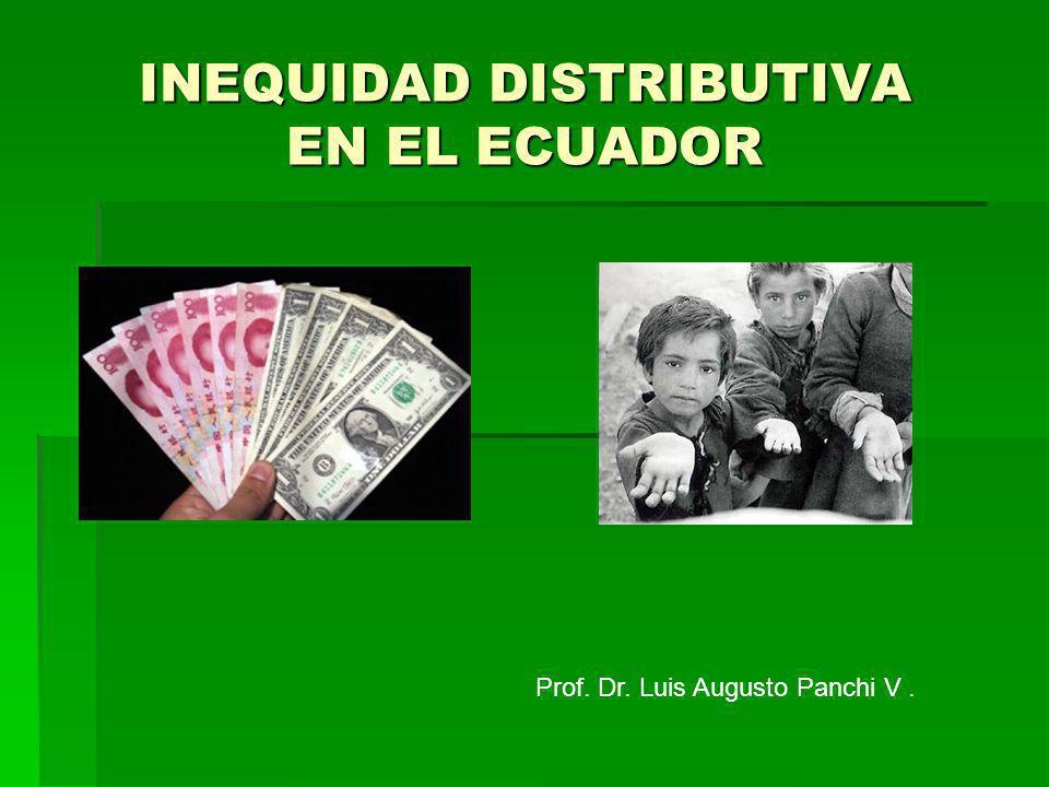 Participación del trabajo en el PIB Ecuador trabajo 10,3% capital 89,7% 250.000 personas pagan impuesto a la renta éstos ganan 9.210,00 USD o más al año (2011) = 8,3% de los 3 millones de población económicamente activa Las remuneraciones son bajas Salario mínimo: 262,00 USD lo reciben el 50% de la PEA= 1,5 millones de trabajadores Fuente: Vázquez, L.