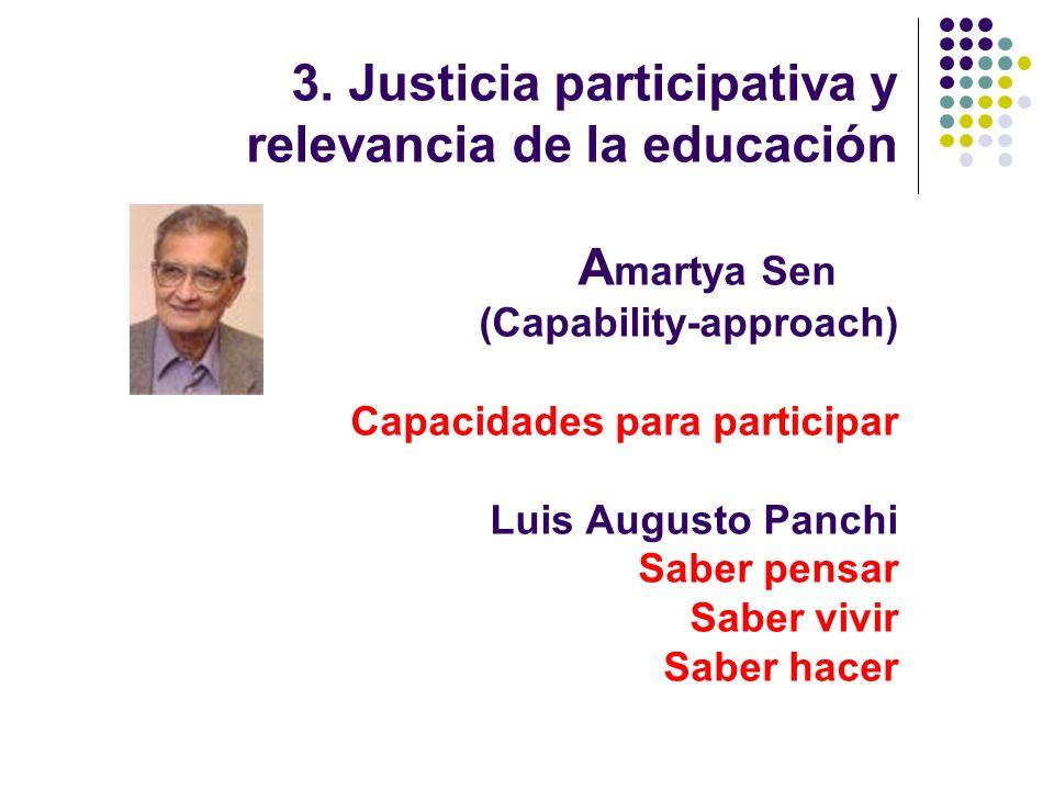 3. Justicia participativa y relevancia de la educación A martya Sen (Capability-approach) Capacidades para participar Luis Augusto Panchi Saber pensar