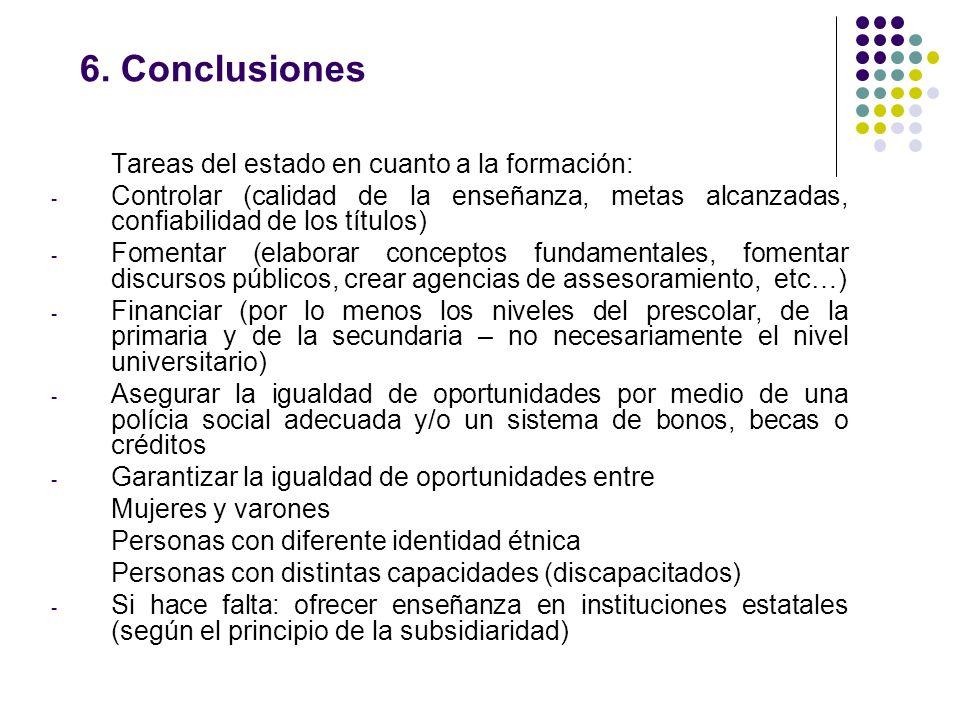 6. Conclusiones Tareas del estado en cuanto a la formación: - Controlar (calidad de la enseñanza, metas alcanzadas, confiabilidad de los títulos) - Fo