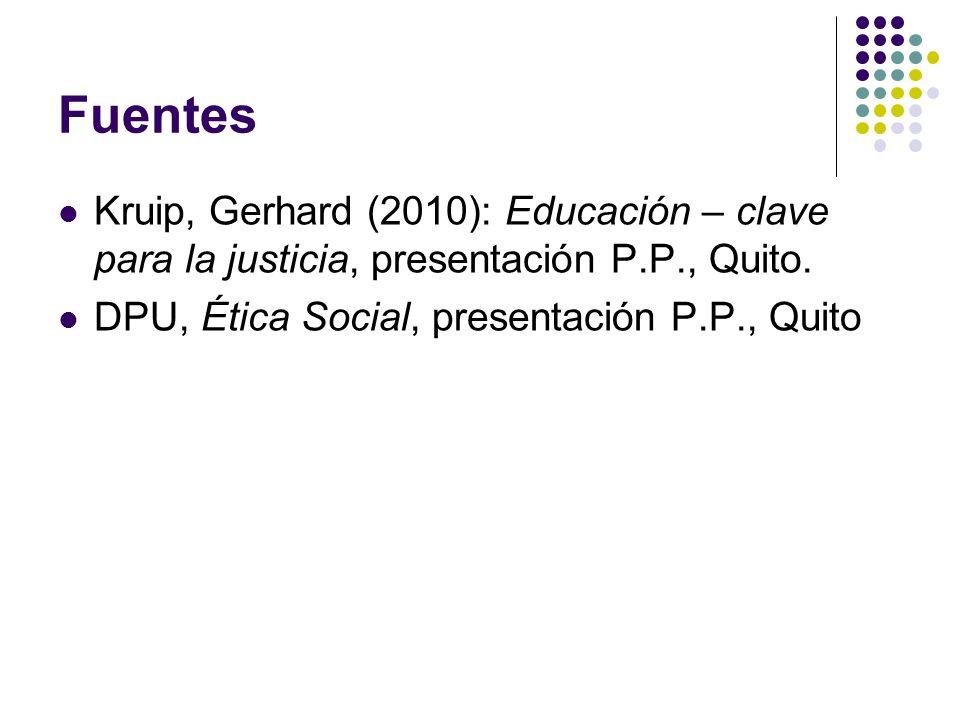Fuentes Kruip, Gerhard (2010): Educación – clave para la justicia, presentación P.P., Quito. DPU, Ética Social, presentación P.P., Quito