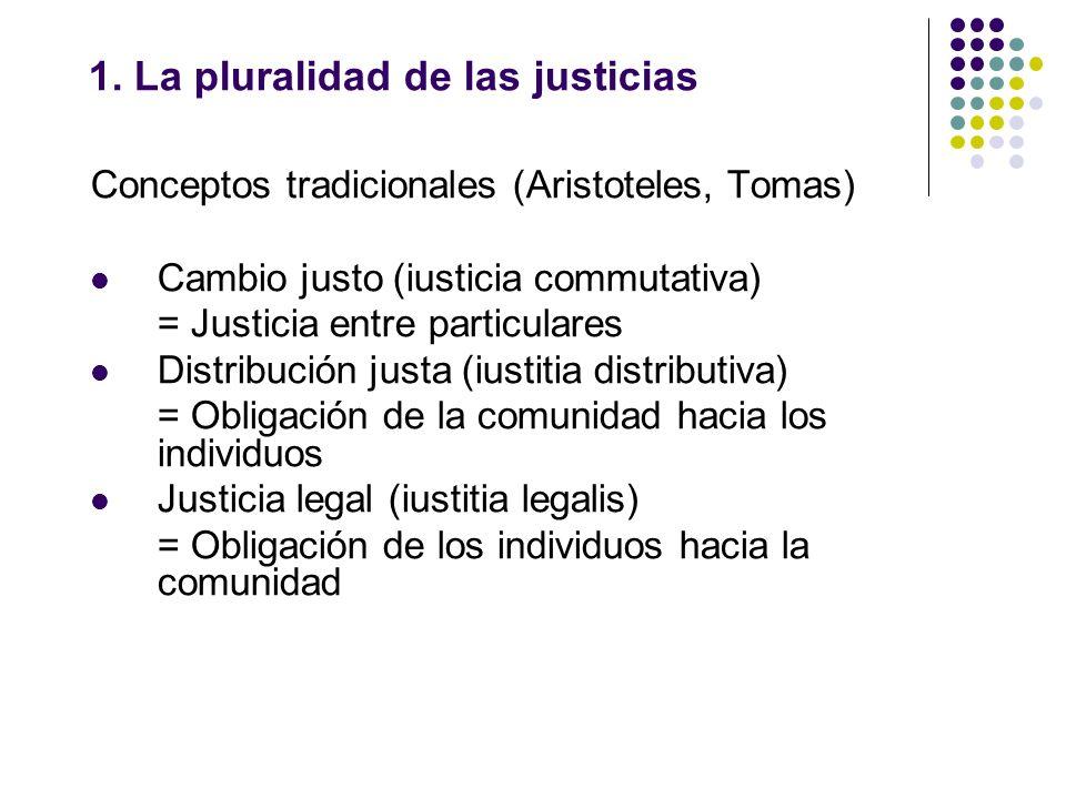 1. La pluralidad de las justicias Conceptos tradicionales (Aristoteles, Tomas) Cambio justo (iusticia commutativa) = Justicia entre particulares Distr