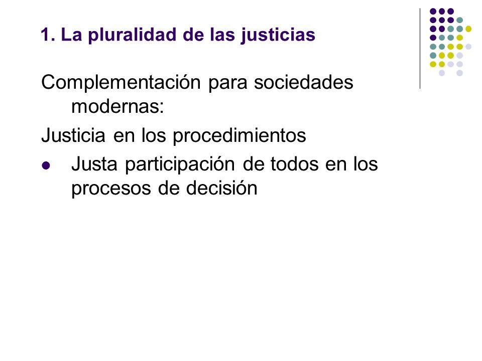 1. La pluralidad de las justicias Complementación para sociedades modernas: Justicia en los procedimientos Justa participación de todos en los proceso