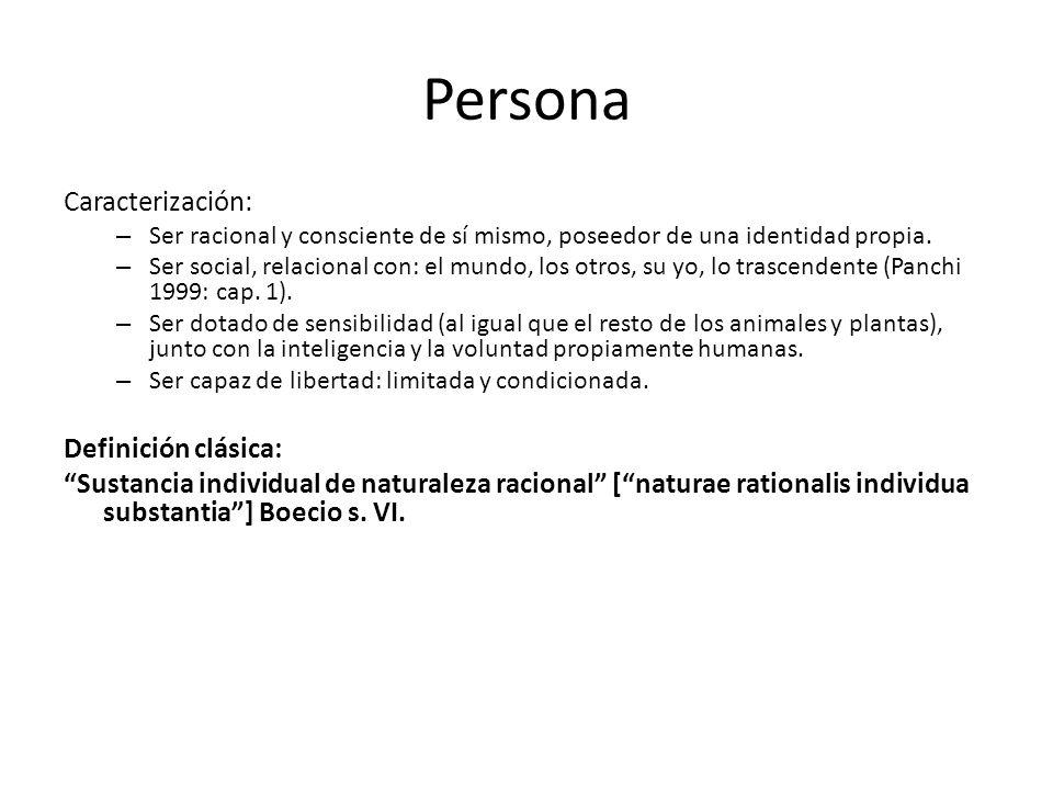 Persona Caracterización: – Ser racional y consciente de sí mismo, poseedor de una identidad propia. – Ser social, relacional con: el mundo, los otros,