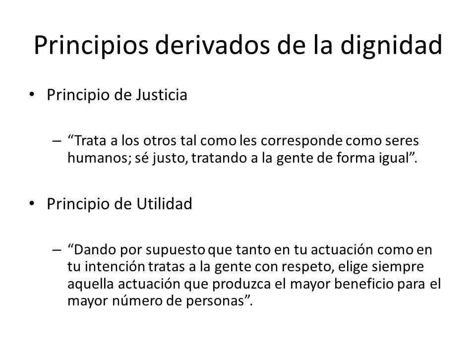 Principios derivados de la dignidad Principio de Justicia – Trata a los otros tal como les corresponde como seres humanos; sé justo, tratando a la gen