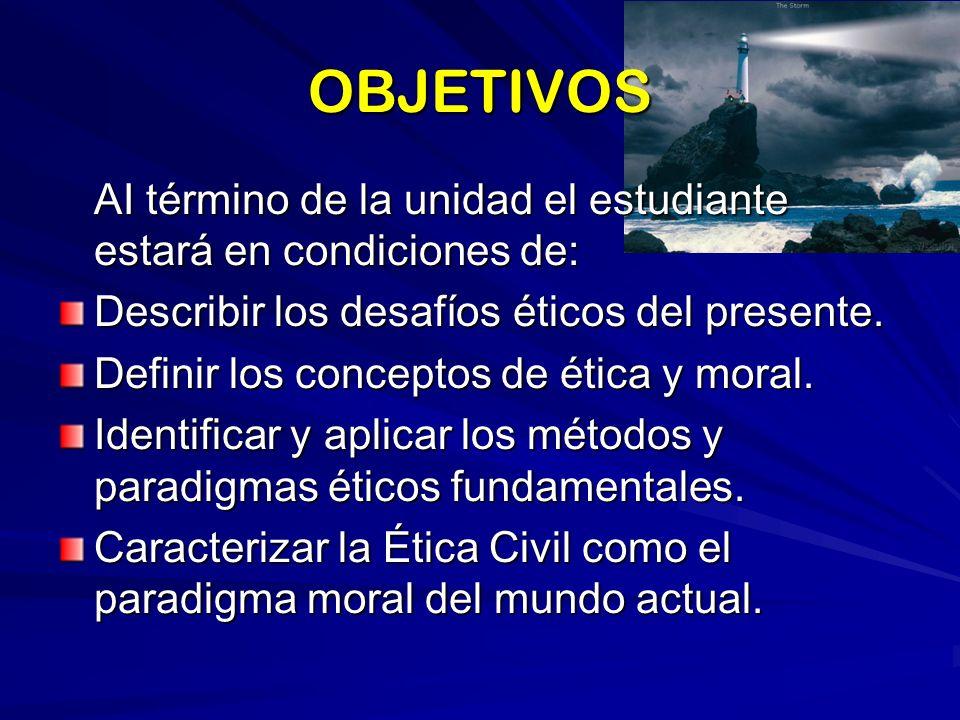 DESAFÍOS ÉTICOS DEL PRESENTE DESTRUCCIÓN DE LA ECOLOGÍA CAMBIO CLIMÁTICO GLOBALIZACIÓN UNILATERAL HEGEMONÍA MUNDIAL DESARROLLO CIENTÍFICO-TECNOLÓGICO BIOTECNOLOGÍA PROBLEMA RELACIONES SUR-NORTE MONOPOLIO DE LOS M.C.S.