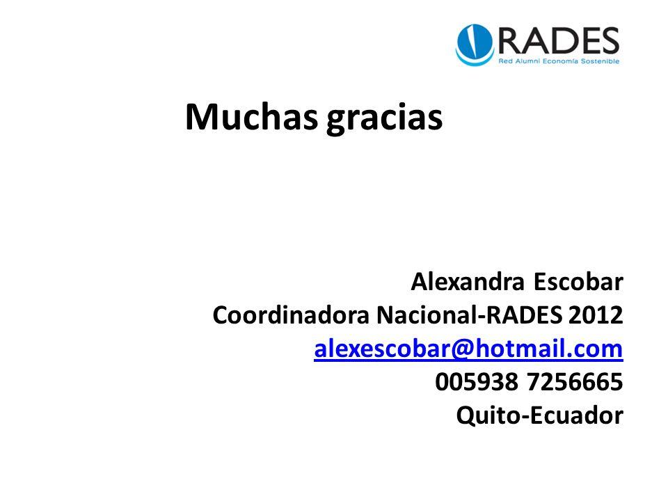 Muchas gracias Alexandra Escobar Coordinadora Nacional-RADES 2012 alexescobar@hotmail.com 005938 7256665 Quito-Ecuador