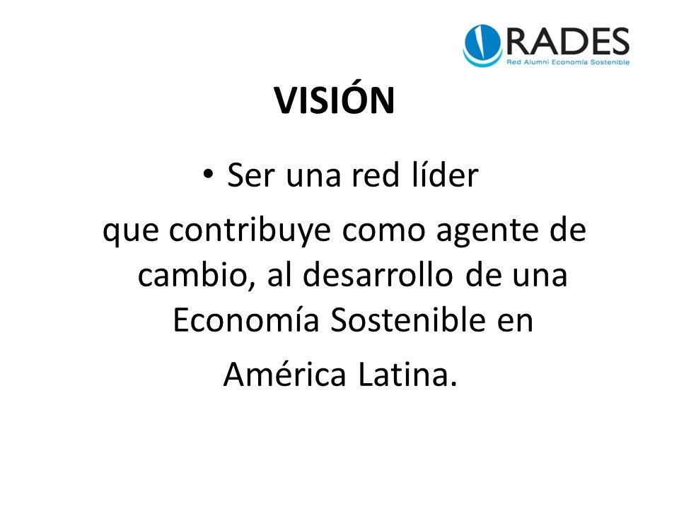 VISIÓN Ser una red líder que contribuye como agente de cambio, al desarrollo de una Economía Sostenible en América Latina.