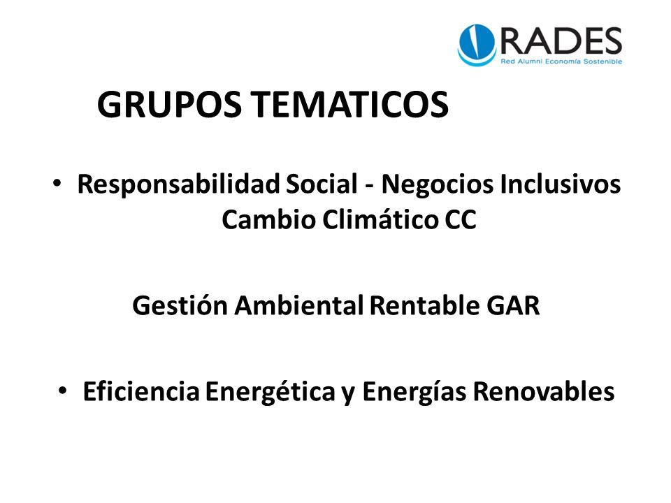 GRUPOS TEMATICOS Responsabilidad Social - Negocios Inclusivos Cambio Climático CC Gestión Ambiental Rentable GAR Eficiencia Energética y Energías Renovables