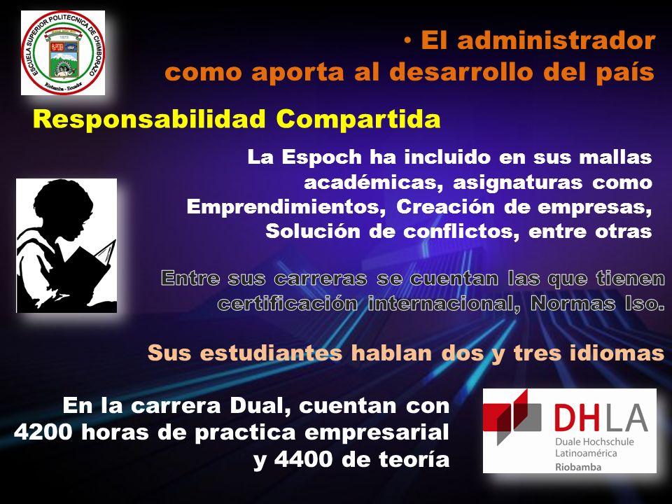 El administrador como aporta al desarrollo del país Responsabilidad Compartida La Espoch ha incluido en sus mallas académicas, asignaturas como Empren