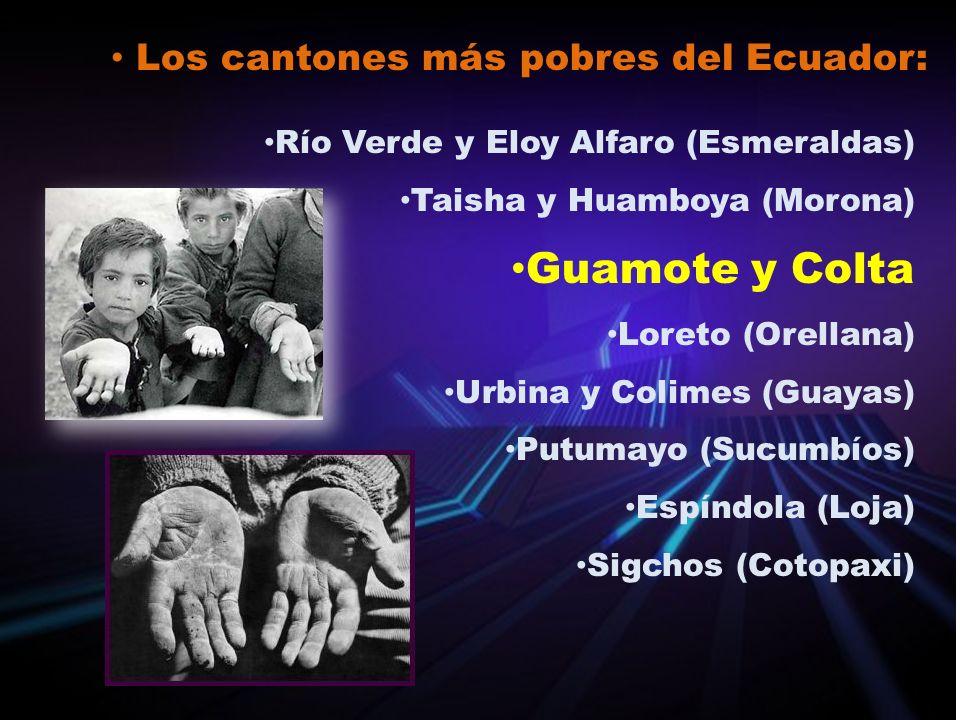 Los cantones más pobres del Ecuador: Río Verde y Eloy Alfaro (Esmeraldas) Taisha y Huamboya (Morona) Guamote y Colta Loreto (Orellana) Urbina y Colime