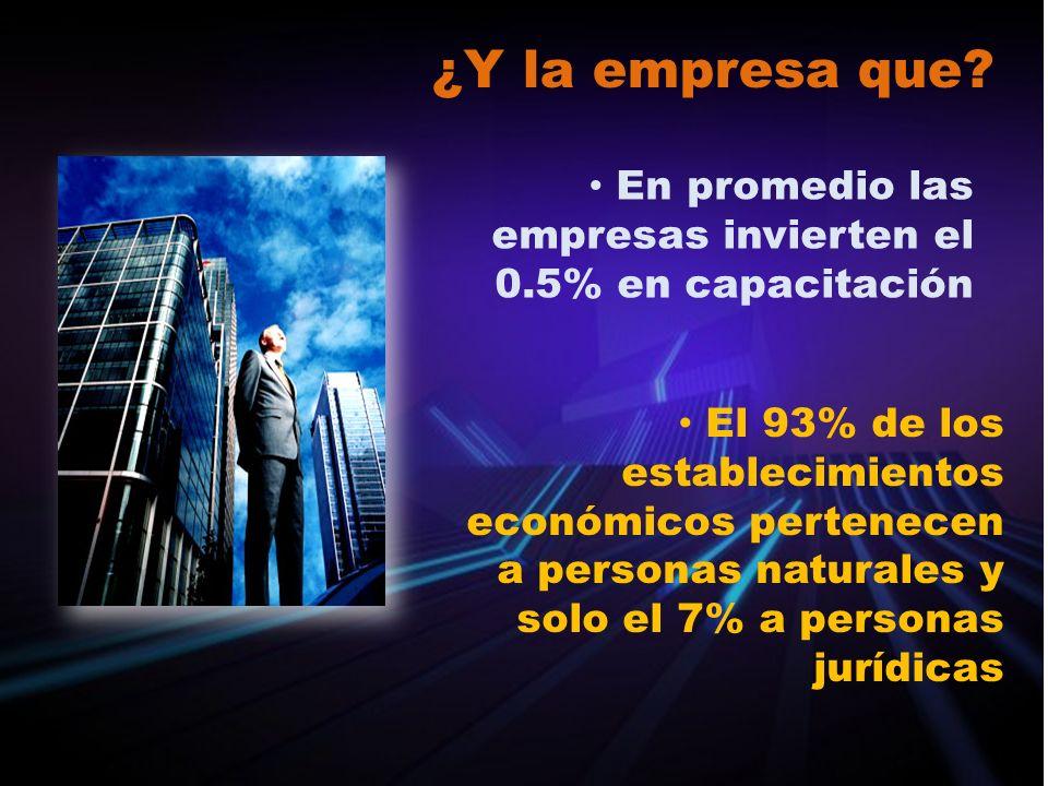 ¿Y la empresa que? En promedio las empresas invierten el 0.5% en capacitación El 93% de los establecimientos económicos pertenecen a personas naturale