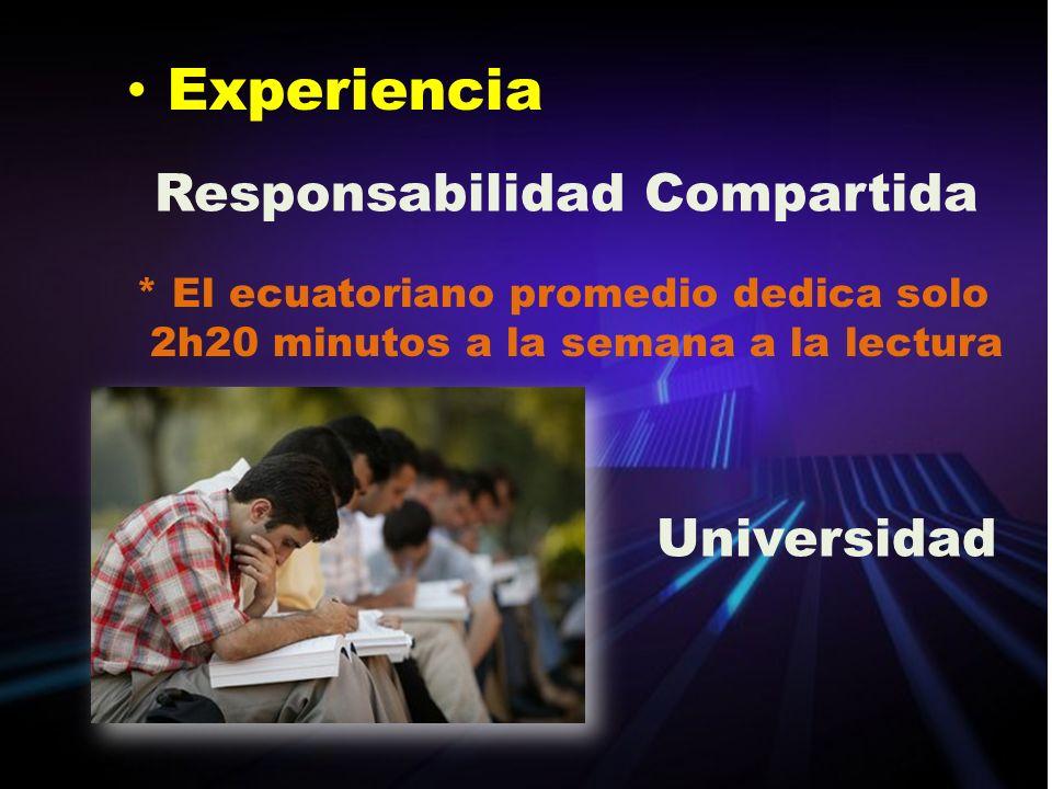 Experiencia Responsabilidad Compartida * El ecuatoriano promedio dedica solo 2h20 minutos a la semana a la lectura Universidad