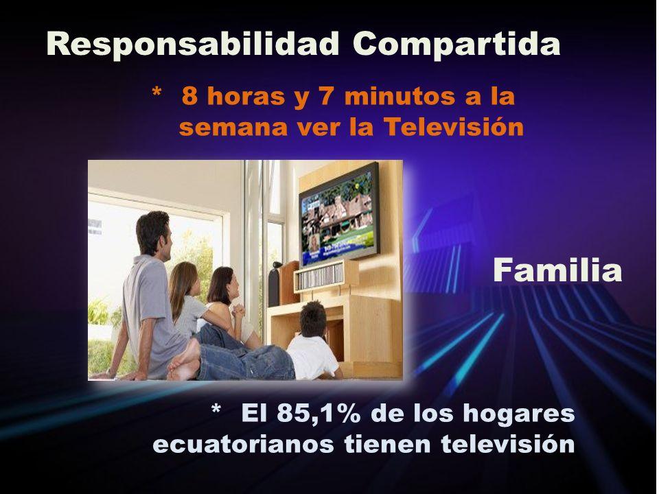 * 8 horas y 7 minutos a la semana ver la Televisión * El 85,1% de los hogares ecuatorianos tienen televisión Responsabilidad Compartida Familia