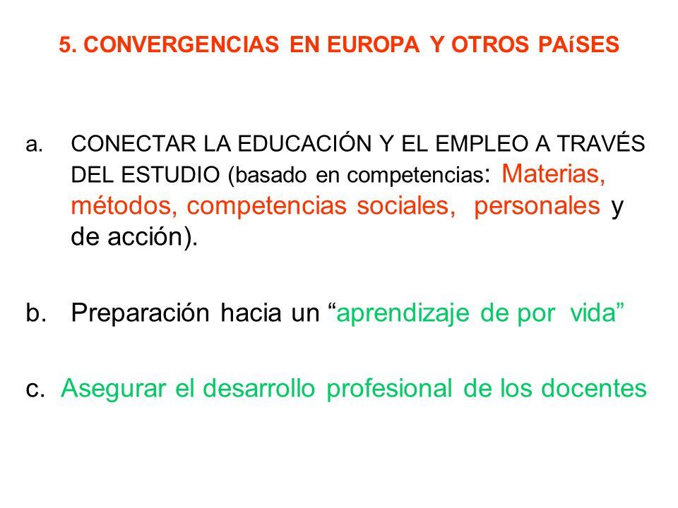 5. CONVERGENCIAS EN EUROPA Y OTROS PAíSES a.CONECTAR LA EDUCACIÓN Y EL EMPLEO A TRAVÉS DEL ESTUDIO (basado en competencias : Materias, métodos, compet