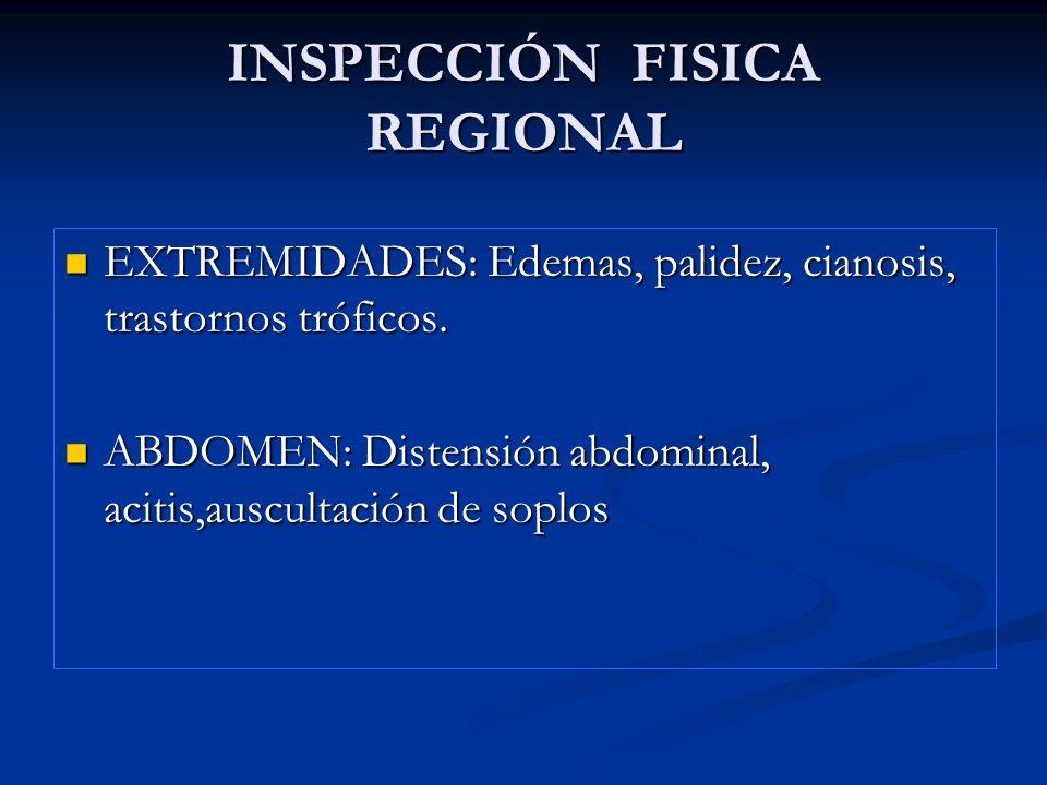 INSPECCIÓN FISICA REGIONAL EXTREMIDADES: Edemas, palidez, cianosis, trastornos tróficos. EXTREMIDADES: Edemas, palidez, cianosis, trastornos tróficos.