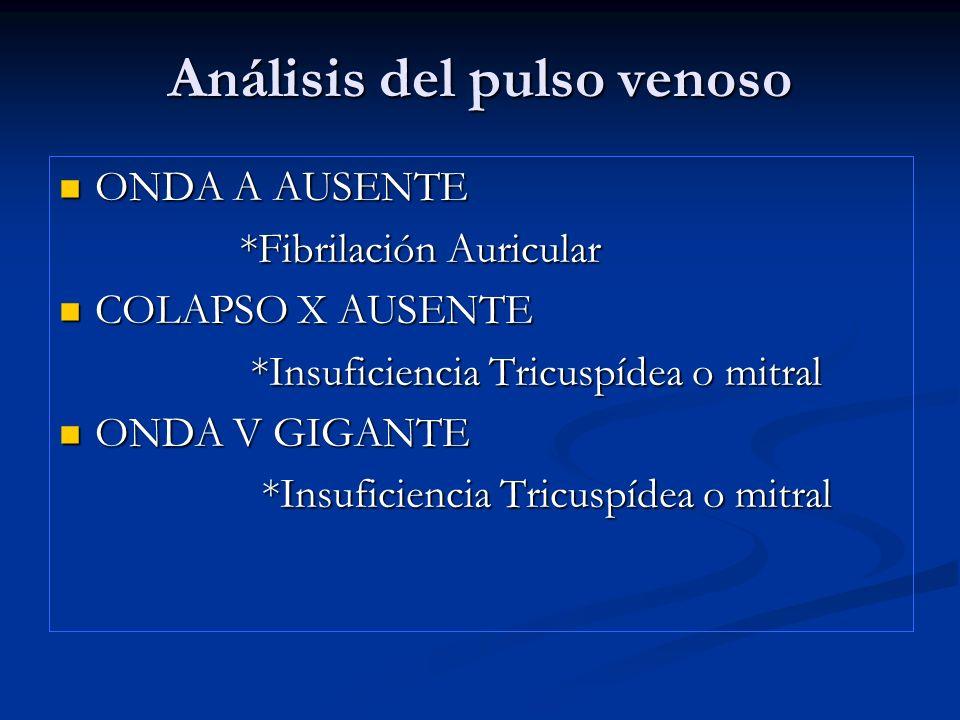 Análisis del pulso venoso COLAPSO Y RAPIDO Y PROFUNDO COLAPSO Y RAPIDO Y PROFUNDO * Pericarditis Constrictiva.