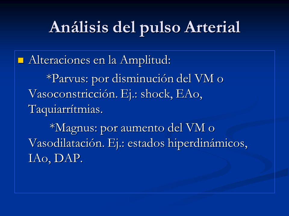 Análisis del pulso Arterial Alteraciones en la Amplitud: Alteraciones en la Amplitud: *Parvus: por disminución del VM o Vasoconstricción. Ej.: shock,