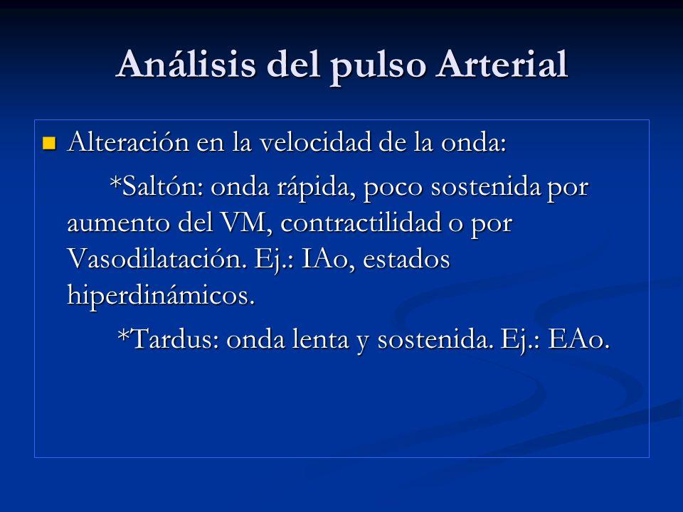 Análisis del pulso Arterial Alteración en la velocidad de la onda: Alteración en la velocidad de la onda: *Saltón: onda rápida, poco sostenida por aum