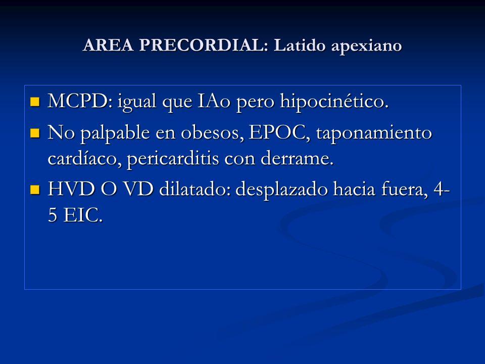AREA PRECORDIAL: Latido apexiano MCPD: igual que IAo pero hipocinético. MCPD: igual que IAo pero hipocinético. No palpable en obesos, EPOC, taponamien