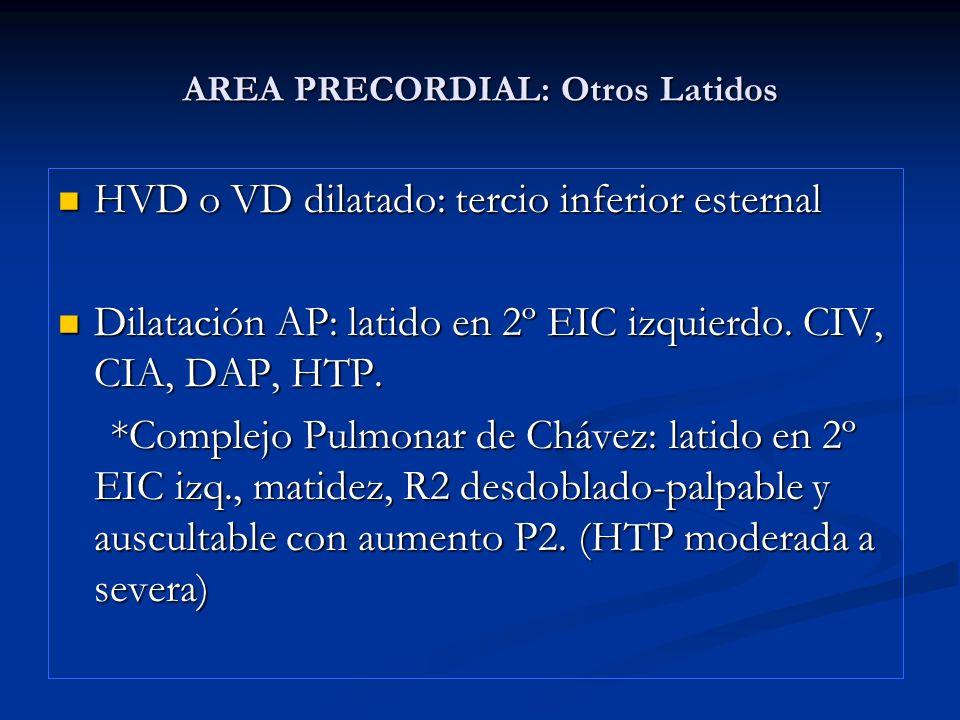 AREA PRECORDIAL: inspección-palpación-percusión.IAo: latido en 2º EIC derecho.