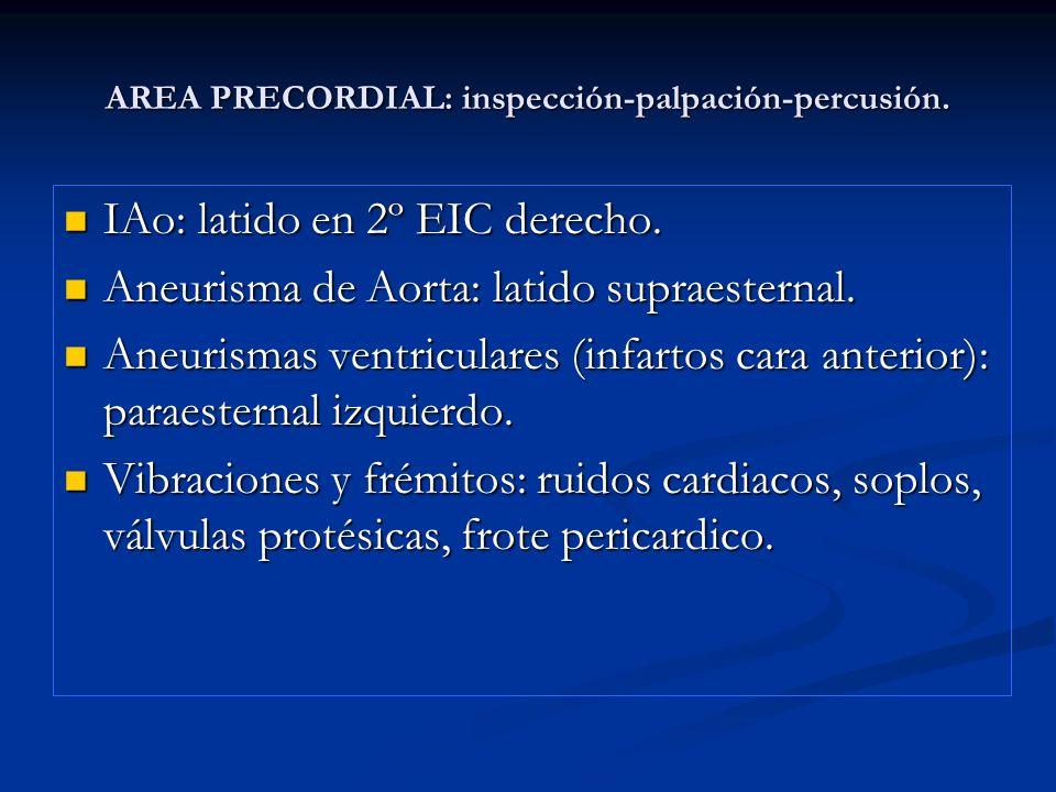AREA PRECORDIAL: inspección-palpación-percusión. IAo: latido en 2º EIC derecho. IAo: latido en 2º EIC derecho. Aneurisma de Aorta: latido supraesterna