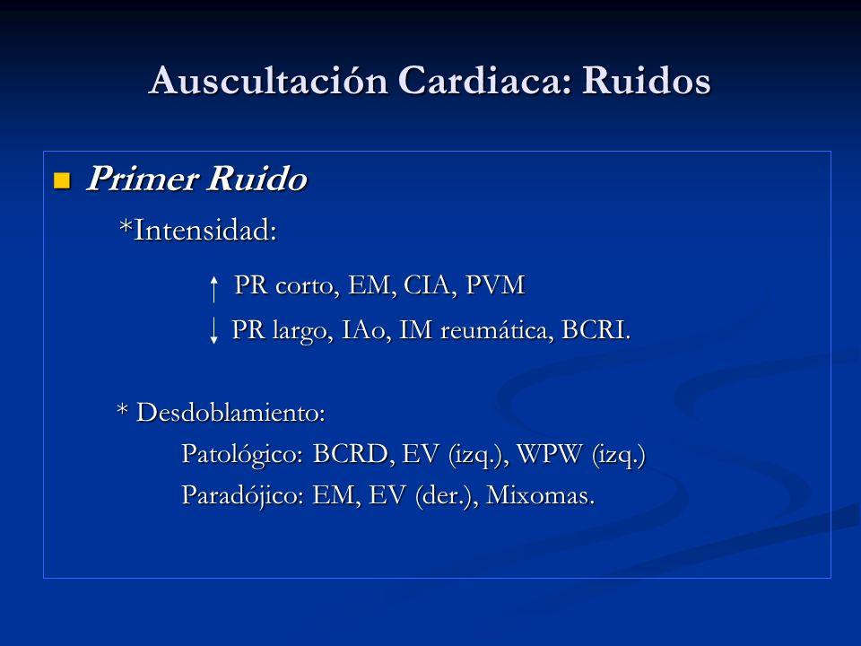 Auscultación Cardiaca: Ruidos Primer Ruido Primer Ruido *Intensidad: *Intensidad: PR corto, EM, CIA, PVM PR corto, EM, CIA, PVM PR largo, IAo, IM reum