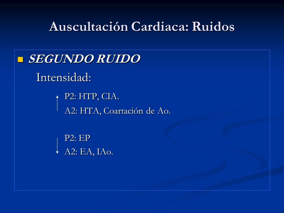 Auscultación Cardiaca: Ruidos SEGUNDO RUIDO SEGUNDO RUIDO Intensidad: Intensidad: P2: HTP, CIA. P2: HTP, CIA. A2: HTA, Coartación de Ao. A2: HTA, Coar