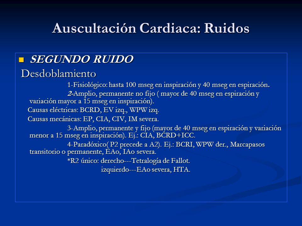 Auscultación Cardiaca: Ruidos SEGUNDO RUIDO SEGUNDO RUIDO Desdoblamiento Desdoblamiento 1-Fisiológico: hasta 100 mseg en inspiración y 40 mseg en espi