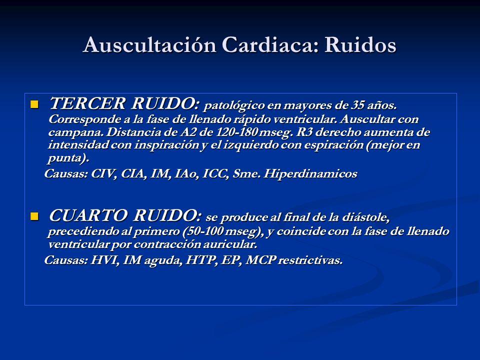 Auscultación Cardiaca: Ruidos TERCER RUIDO: patológico en mayores de 35 años. Corresponde a la fase de llenado rápido ventricular. Auscultar con campa