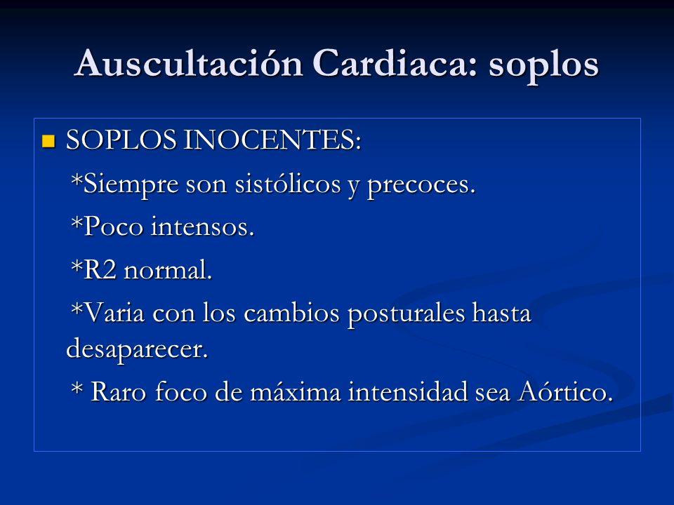 SOPLOS INOCENTES: SOPLOS INOCENTES: *Siempre son sistólicos y precoces. *Siempre son sistólicos y precoces. *Poco intensos. *Poco intensos. *R2 normal