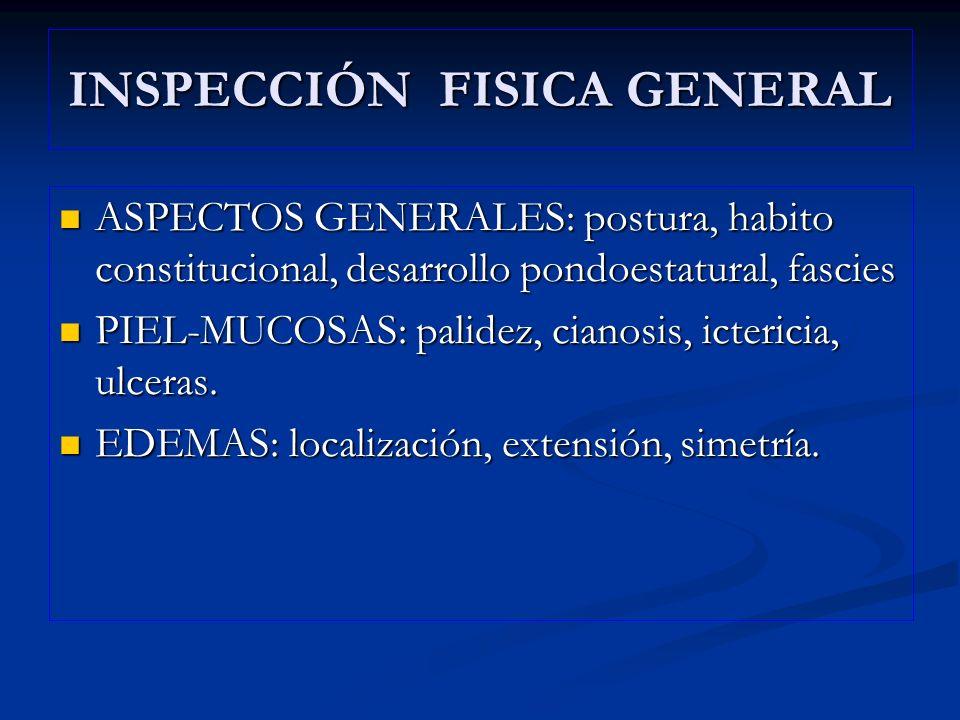 INSPECCIÓN FISICA GENERAL ASPECTOS GENERALES: postura, habito constitucional, desarrollo pondoestatural, fascies ASPECTOS GENERALES: postura, habito c