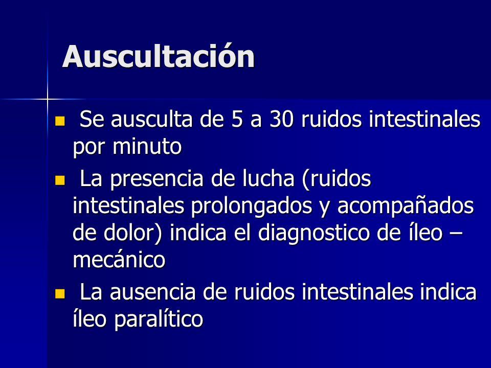 Auscultación Se ausculta de 5 a 30 ruidos intestinales por minuto Se ausculta de 5 a 30 ruidos intestinales por minuto La presencia de lucha (ruidos i