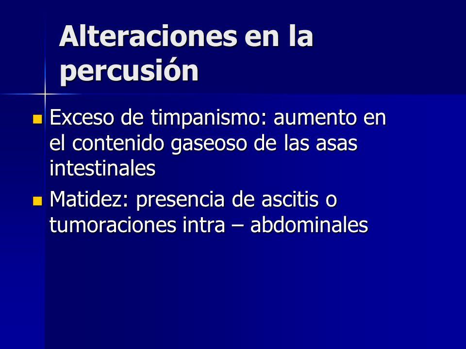 Alteraciones en la percusión Exceso de timpanismo: aumento en el contenido gaseoso de las asas intestinales Exceso de timpanismo: aumento en el conten