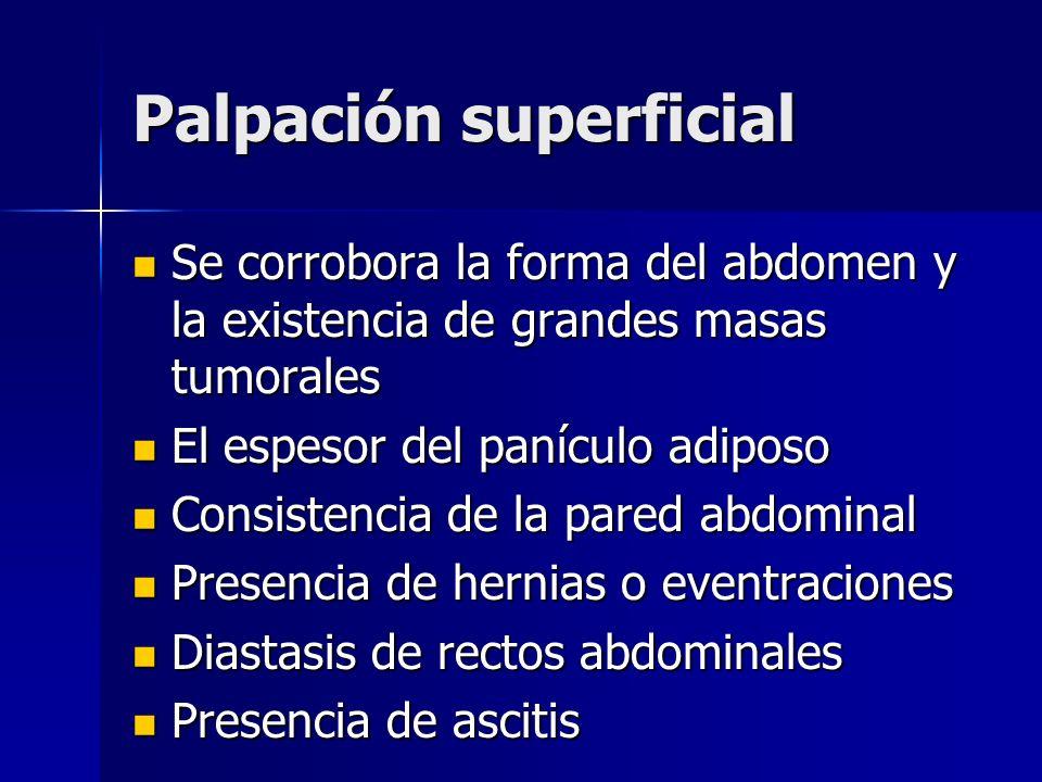 Palpación superficial Se corrobora la forma del abdomen y la existencia de grandes masas tumorales Se corrobora la forma del abdomen y la existencia d