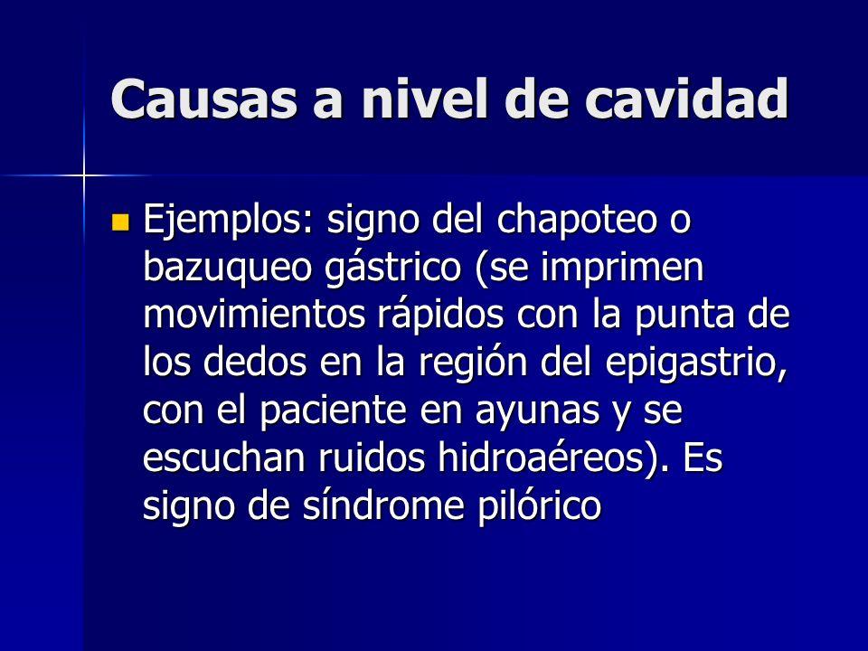 Causas a nivel de cavidad Ejemplos: signo del chapoteo o bazuqueo gástrico (se imprimen movimientos rápidos con la punta de los dedos en la región del