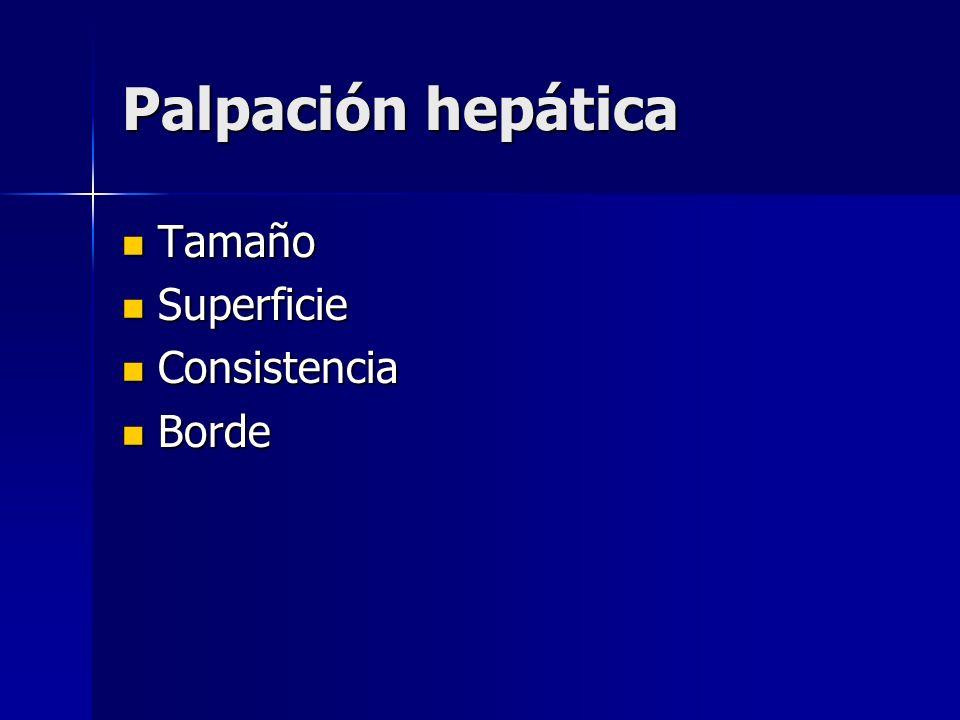 Palpación hepática Tamaño Tamaño Superficie Superficie Consistencia Consistencia Borde Borde