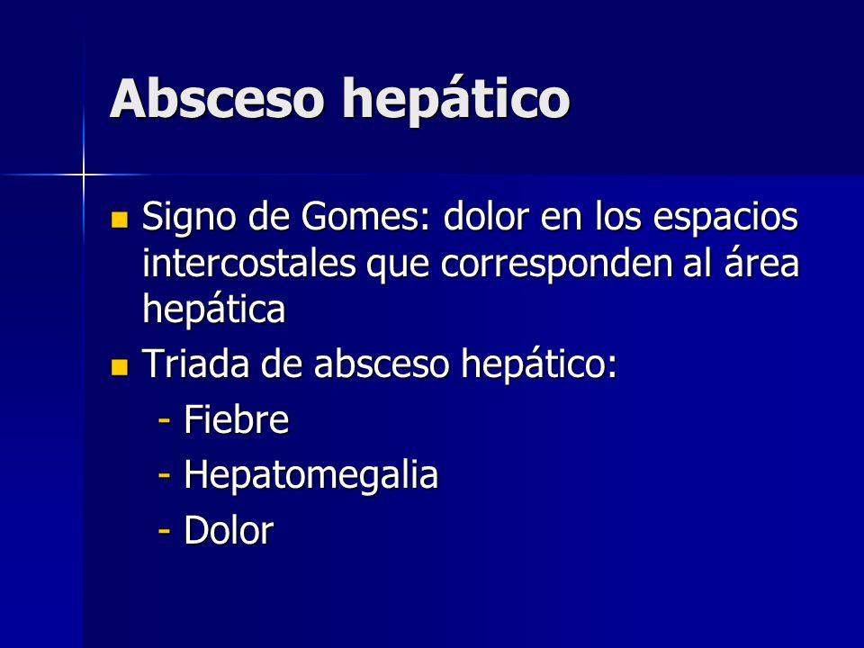 Absceso hepático Signo de Gomes: dolor en los espacios intercostales que corresponden al área hepática Signo de Gomes: dolor en los espacios intercost