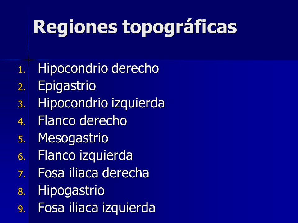 Regiones topográficas 1. Hipocondrio derecho 2. Epigastrio 3. Hipocondrio izquierda 4. Flanco derecho 5. Mesogastrio 6. Flanco izquierda 7. Fosa iliac