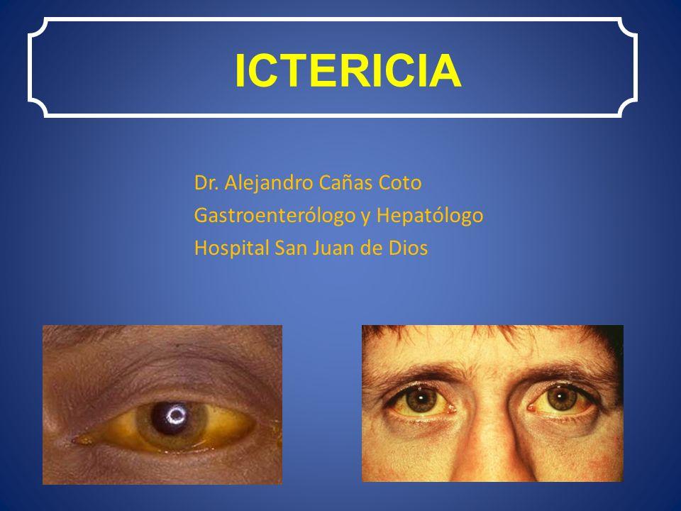 ICTERICIA Dr. Alejandro Cañas Coto Gastroenterólogo y Hepatólogo Hospital San Juan de Dios