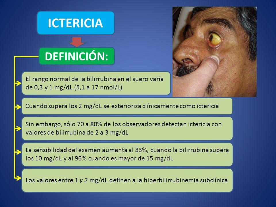 ICTERICIA DEFINICIÓN: El rango normal de la bilirrubina en el suero varía de 0,3 y 1 mg/dL (5,1 a 17 nmol/L) Cuando supera los 2 mg/dL se exterioriza
