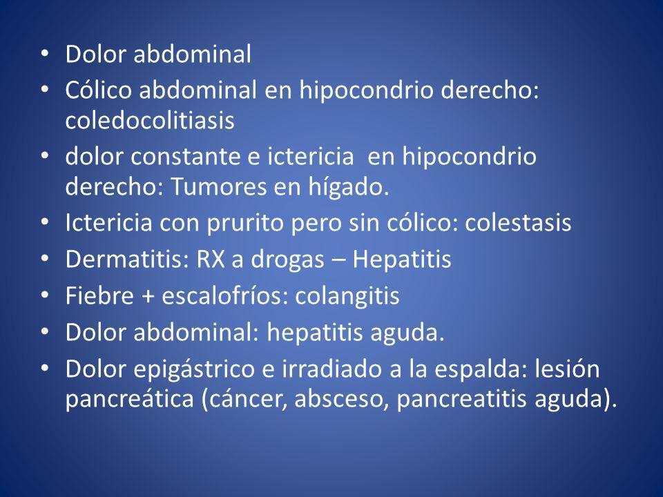 Dolor abdominal Cólico abdominal en hipocondrio derecho: coledocolitiasis dolor constante e ictericia en hipocondrio derecho: Tumores en hígado. Icter