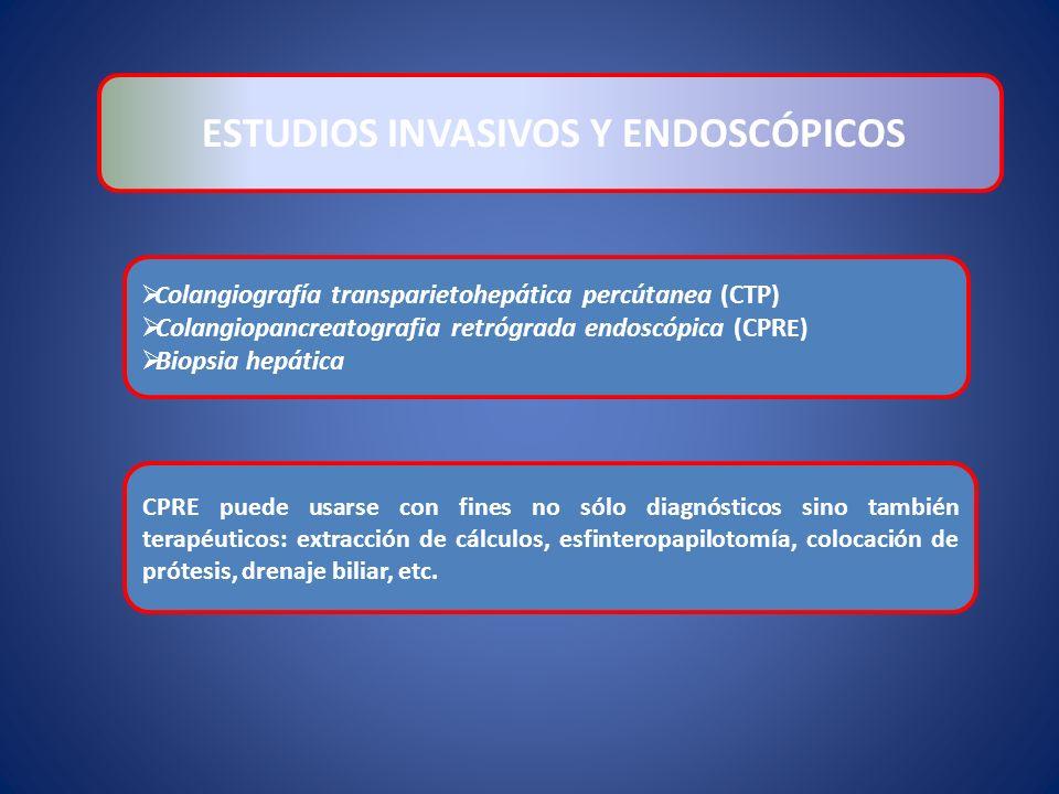 C olangiografía transparietohepática percútanea (CTP) Colangiopancreatografia retrógrada endoscópica (CPR E) Biopsia hepática ESTUDIOS INVASIVOS Y END