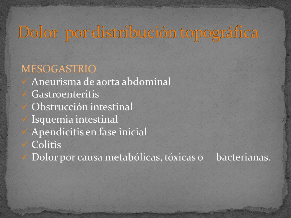 MESOGASTRIO Aneurisma de aorta abdominal Gastroenteritis Obstrucción intestinal Isquemia intestinal Apendicitis en fase inicial Colitis Dolor por caus