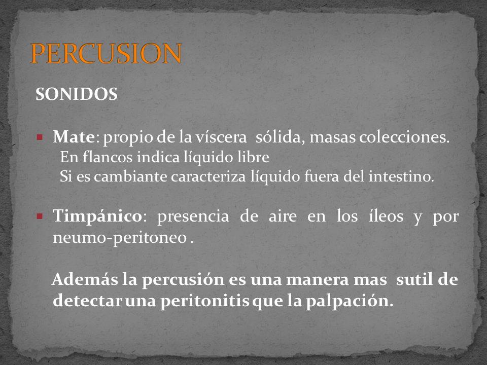 SONIDOS Mate: propio de la víscera sólida, masas colecciones. En flancos indica líquido libre Si es cambiante caracteriza líquido fuera del intestino.
