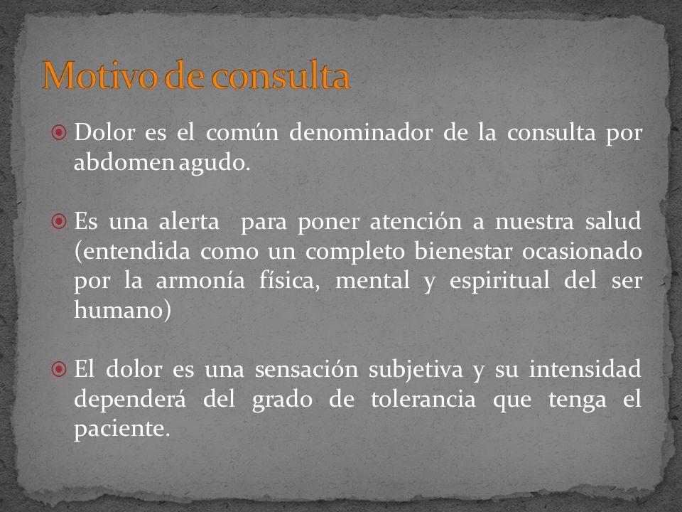 Dolor es el común denominador de la consulta por abdomen agudo. Es una alerta para poner atención a nuestra salud (entendida como un completo bienesta
