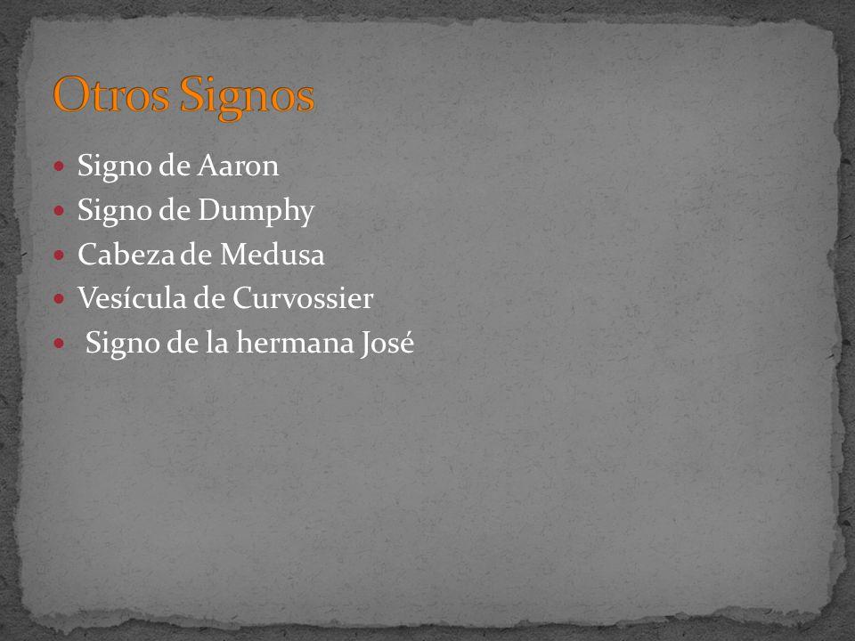 Signo de Aaron Signo de Dumphy Cabeza de Medusa Vesícula de Curvossier Signo de la hermana José