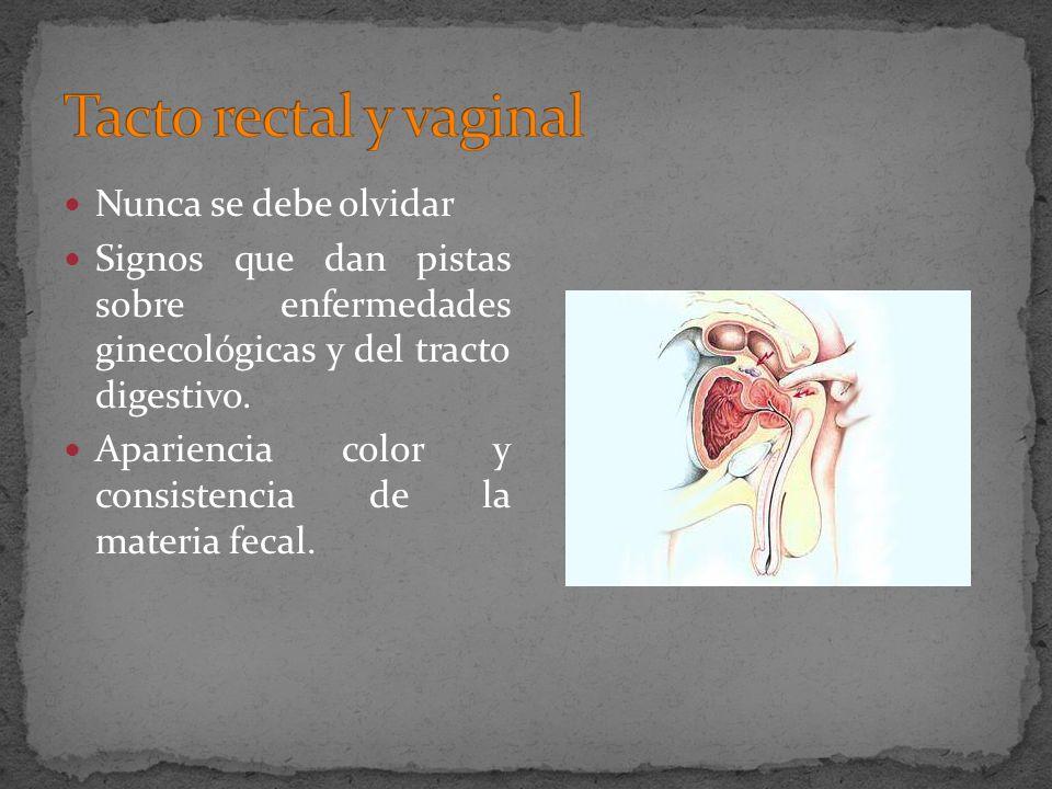 Nunca se debe olvidar Signos que dan pistas sobre enfermedades ginecológicas y del tracto digestivo. Apariencia color y consistencia de la materia fec