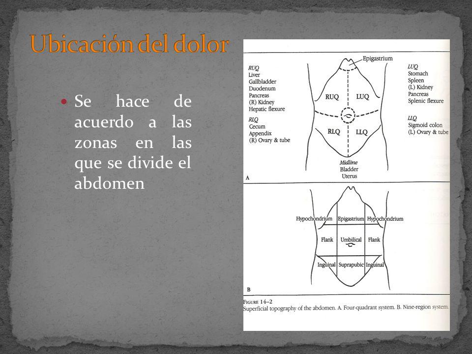 Se hace de acuerdo a las zonas en las que se divide el abdomen