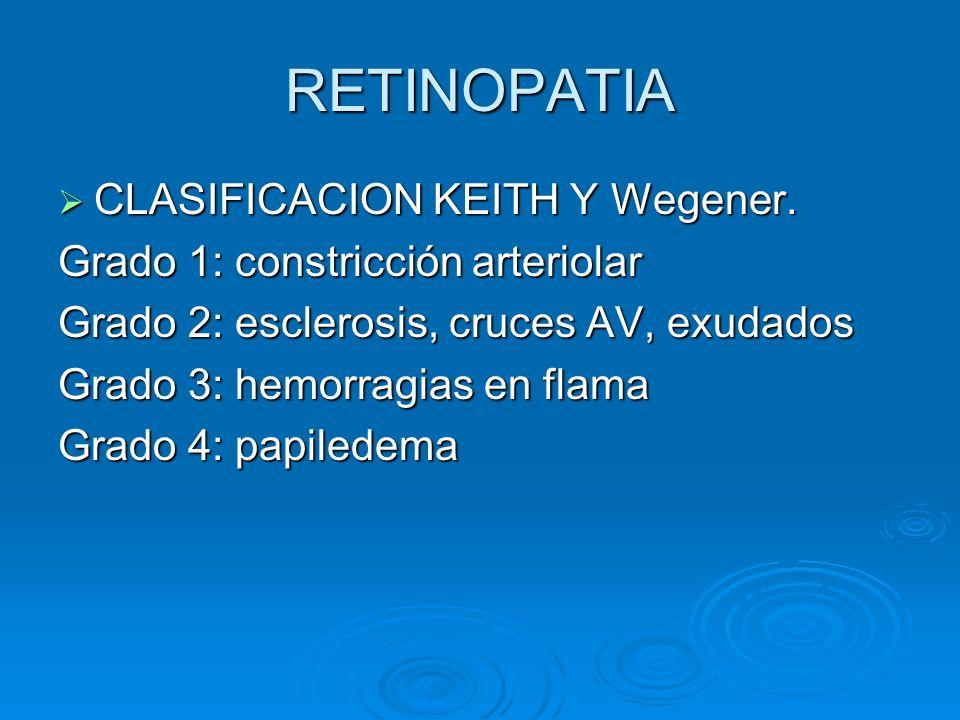 RETINOPATIA CLASIFICACION KEITH Y Wegener. CLASIFICACION KEITH Y Wegener. Grado 1: constricción arteriolar Grado 2: esclerosis, cruces AV, exudados Gr