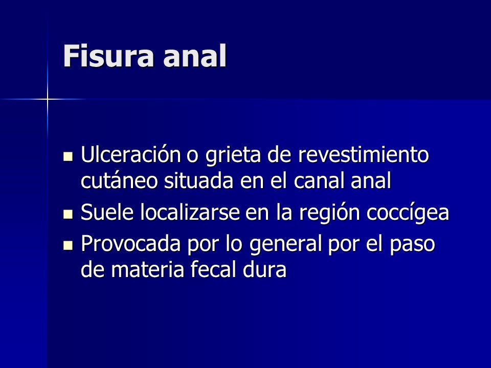 Fisura anal Ulceración o grieta de revestimiento cutáneo situada en el canal anal Ulceración o grieta de revestimiento cutáneo situada en el canal ana